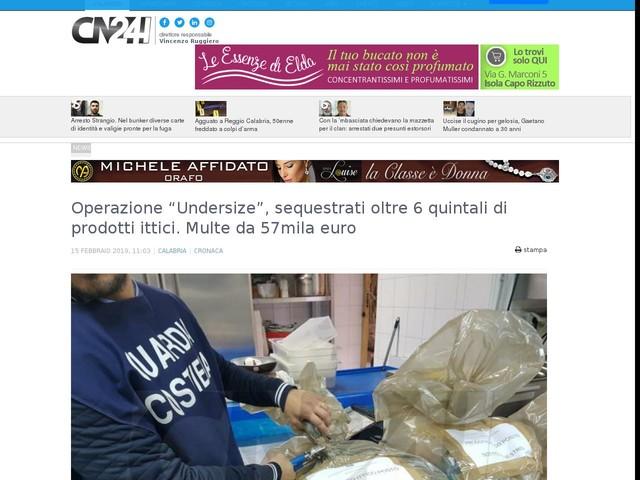 """Operazione """"Undersize"""", sequestrati oltre 6 quintali di prodotti ittici. Multe da 57mila euro"""