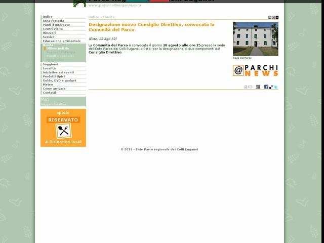 PR Colli Euganei - Designazione nuovo Consiglio Direttivo, convocata la Comunità del Parco