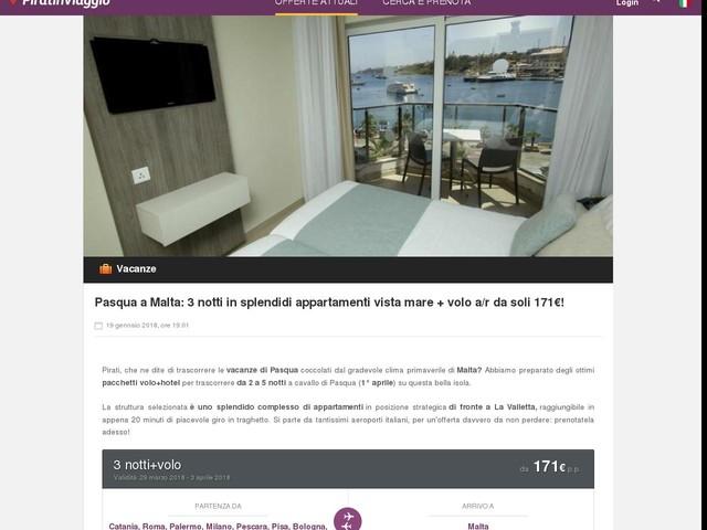Pasqua a Malta: 3 notti in splendidi appartamenti vista mare + volo a/r da soli 171€!