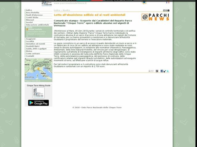PN Cinque Terre - Lotta all'abusivismo edilizio ed ai reati ambientali