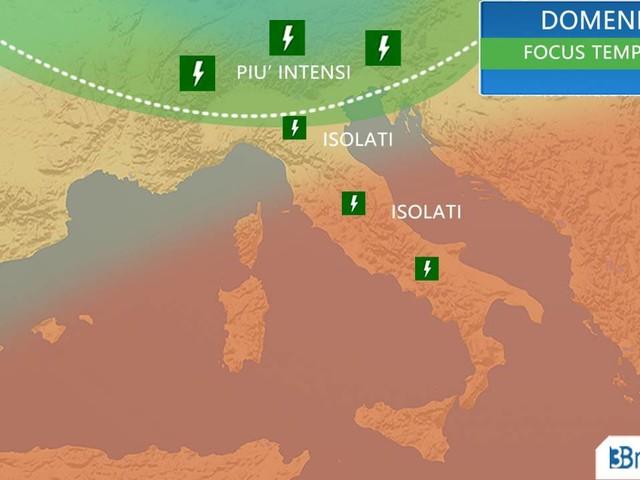 Meteo Italia. Domenica TEMPORALI al Nord e primo calo termico