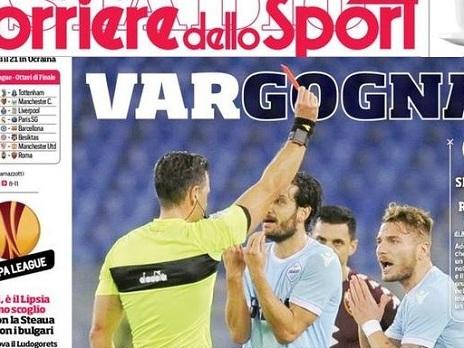 """PRIME PAGINE – """"VARgogna! Rigore netto negato alla Lazio. Europa League, Lipsia primo scoglio per il Napoli"""""""