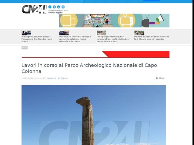 Lavori in corso al Parco Archeologico Nazionale di Capo Colonna