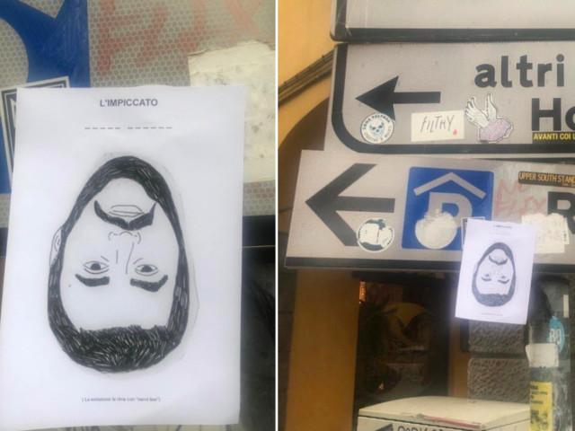 Il volantino choc dei bolognesi rossi: Salvini impiccato a testa in giù