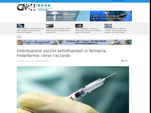 Distribuzione vaccini antinfluenzali in farmacia, Federfarma: verso l'accordo