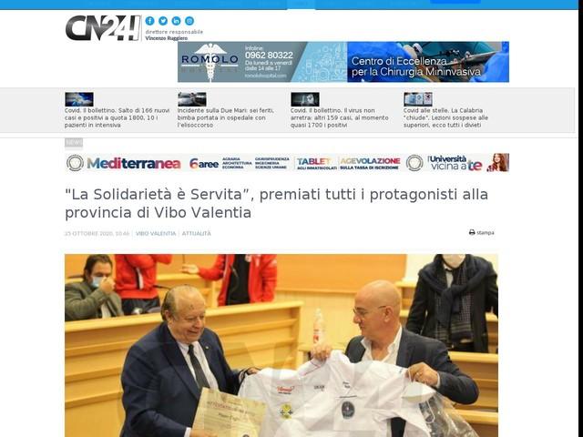 """""""La Solidarietà è Servita"""", premiati tutti i protagonisti alla provincia di Vibo Valentia"""