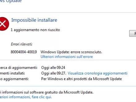 Nel caso di aggiornamento non riuscito Windows, come risolvere