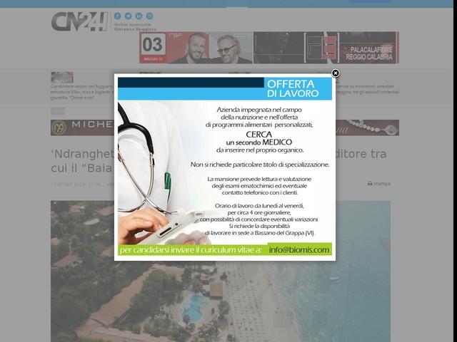 """'Ndrangheta: beni per 12 mln confiscati a imprenditore tra cui il """"Baia Tropea Resort"""""""