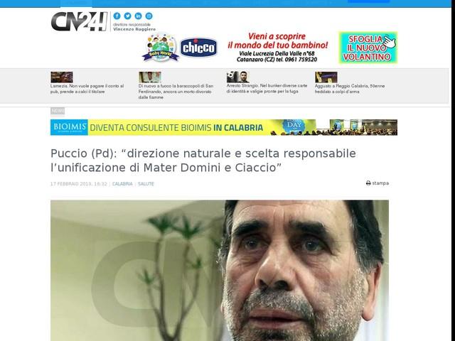 """Puccio (Pd): """"direzione naturale e scelta responsabile l'unificazione di Mater Domini e Ciaccio"""""""
