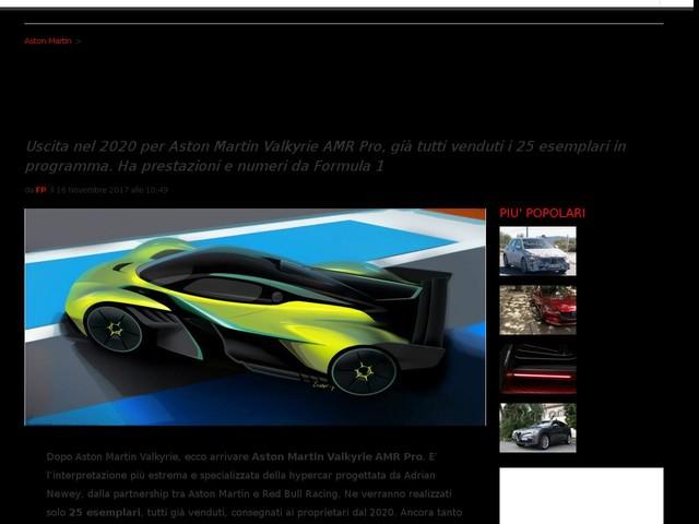 Aston Martin Valkyrie AMR Pro: prestazioni e scheda tecnica della Valkyrie da pista [FOTO]