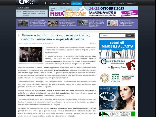 Oliverio a Rovito: focus su discarica Celico, viadotto Cannavino e impianti di Lorica