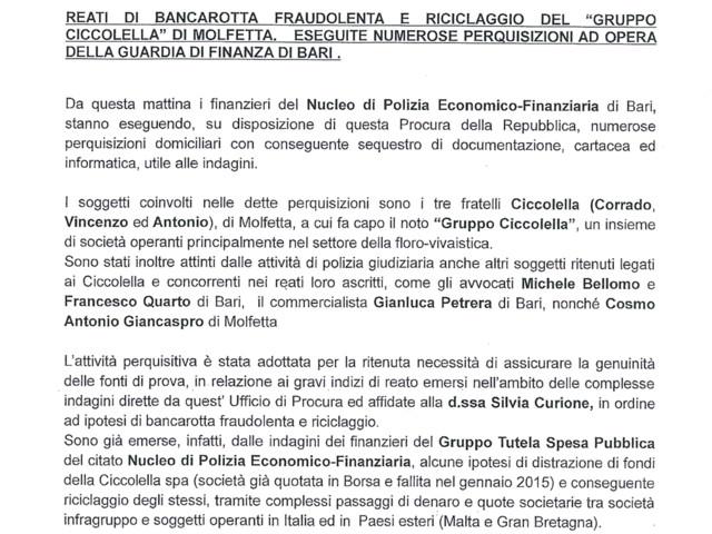 Molfetta: il presidente del Bari fra gli indagati per il fallimento del gruppo Ciccolella, ipotesi bancarotta Operazione della Guardia di finanza nei confronti di Giancaspro e degli altri