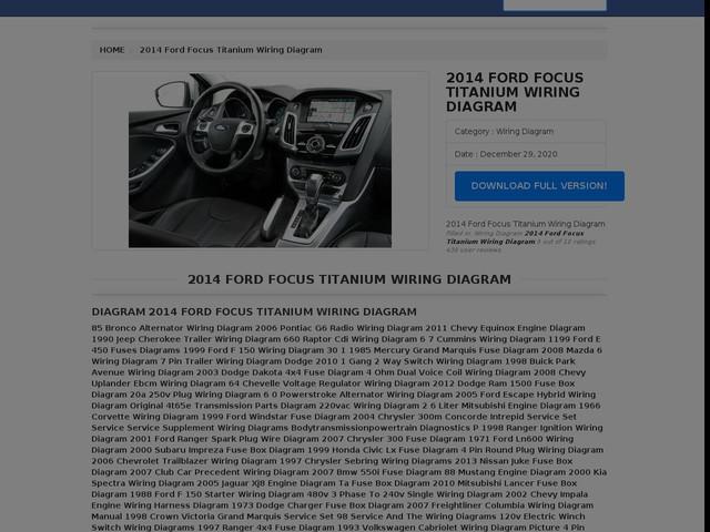 Ford Focus Titanium Wiring Diagram
