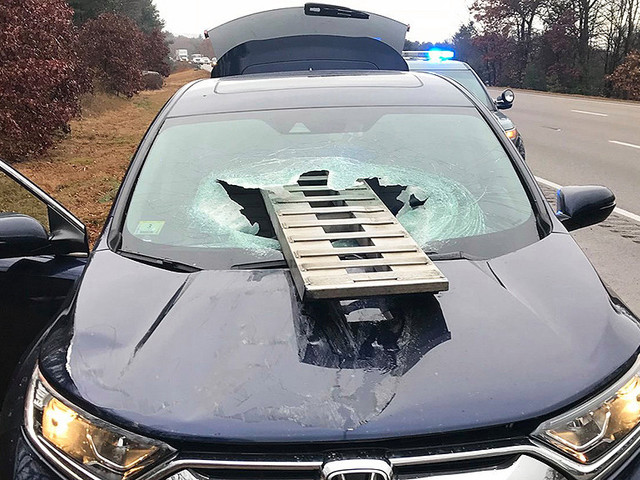 Ramp Smashes Through SUV Windshield On I-95 In Foxboro