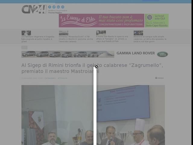"""Al Sigep di Rimini trionfa il gelato calabrese """"Zagrumello"""", premiato il maestro Mastroianni"""