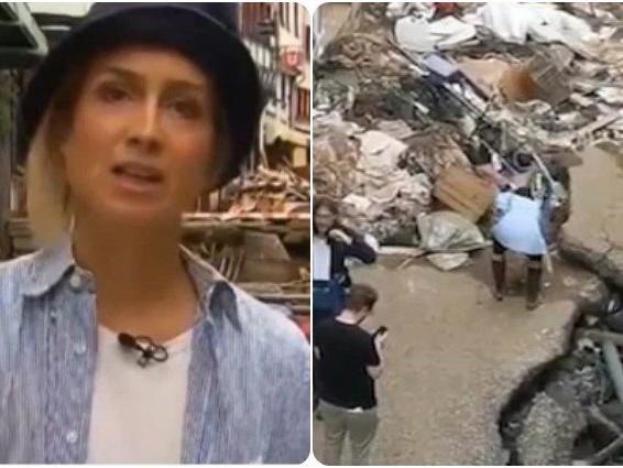 Giornalista tedesca sospesa per aver finto di dare il suo aiuto durante le alluvioni in Germania