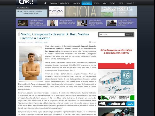 Nuoto, Campionato di serie B: Rari Nantes Crotone a Palermo