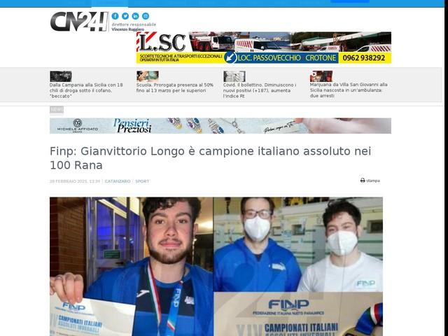 Finp: Gianvittorio Longo è campione italiano assoluto nei 100 Rana
