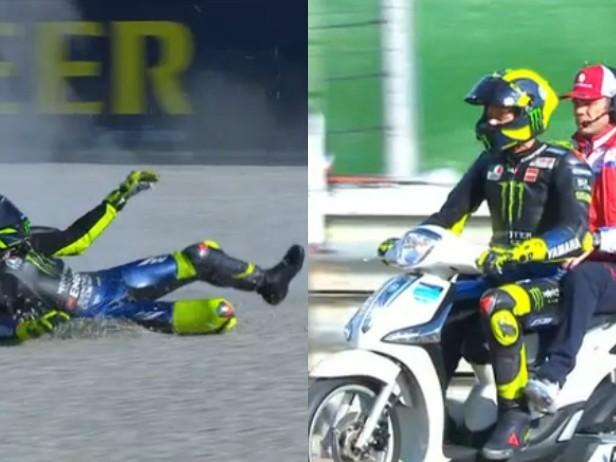 Valentino Rossi, incidente in MotoGP durante il GP Valencia. VIDEO