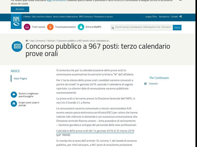 Calendario Concorso Inps.Concorso Pubblico A 967 Posti Terzo Calendario Prove Orali