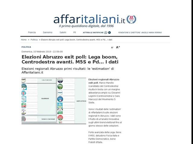Abruzzo, avanti il Centrodestra Elezioni: le 'estimation' di Affari