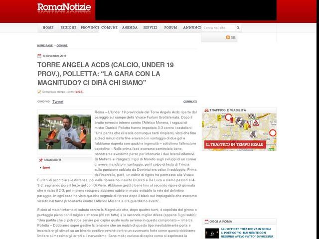 """Torre Angela Acds (calcio, Under 19 prov.), Polletta: """"La gara con la Magnitudo? Ci dirà chi siamo"""""""