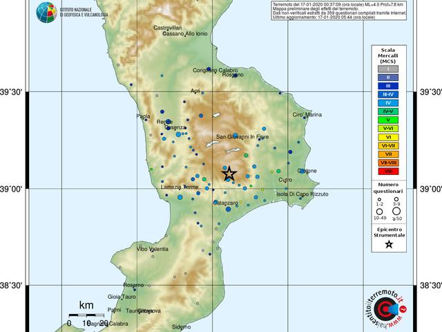 Paura in Calabria: forte terremoto avvertito nelle province di Catanzaro, Cosenza e Crotone
