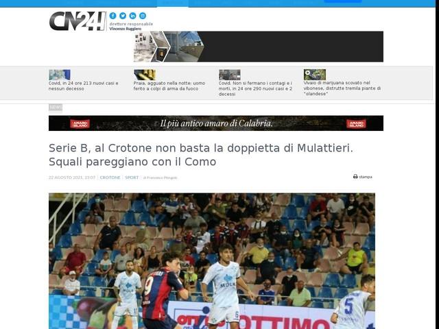 Serie B, al Crotone non basta la doppietta di Mulattieri. Squali pareggiano con il Como