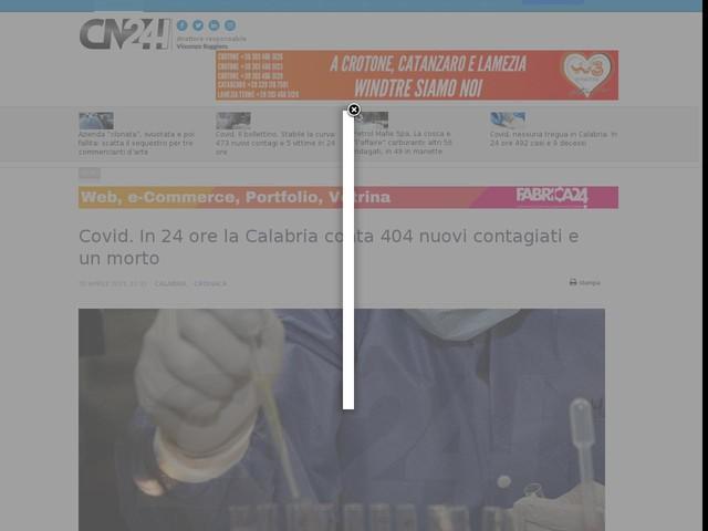 Covid. In 24 ore la Calabria conta 404 nuovi contagiati e un morto