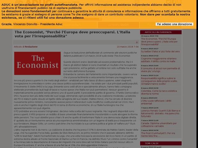 """The Economist, """"Perché l'Europa deve preoccuparsi. L'Italia vota per l'irresponsabilità"""""""