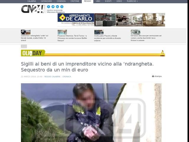 Sigilli ai beni di un imprenditore vicino alla 'ndrangheta. Sequestro da un mln di euro