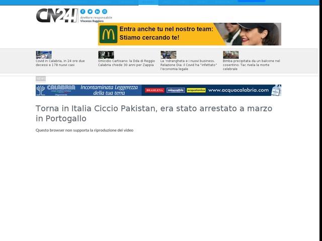 Torna in Italia Ciccio Pakistan, era stato arrestato a marzo in Portogallo