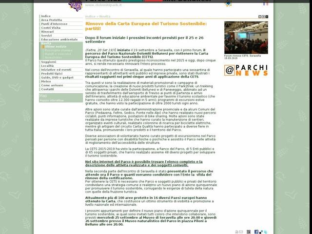 PN Dolomiti Bellunesi - Rinnovo della Carta Europea del Turismo Sostenibile: partiti!