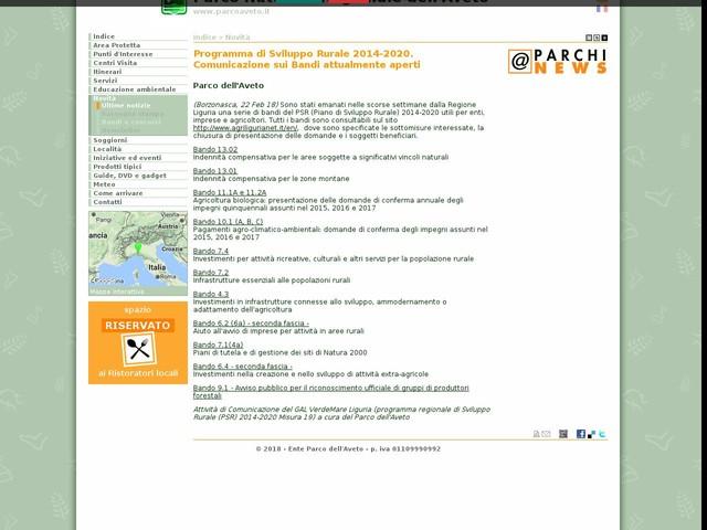 PR Aveto - Programma di Sviluppo Rurale 2014-2020. Comunicazione sui Bandi attualmente aperti