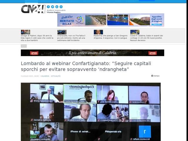 "Lombardo al webinar Confartigianato: ""Seguire capitali sporchi per evitare sopravvento 'ndrangheta"""