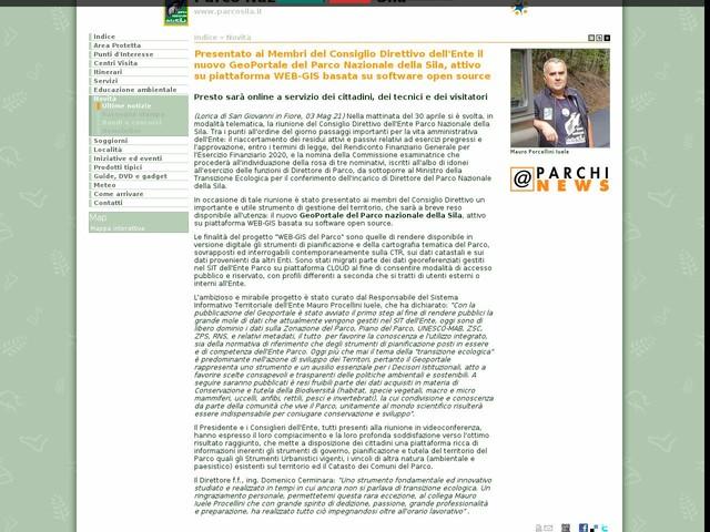 PN Sila - Presentato ai Membri del Consiglio Direttivo dell'Ente il nuovo GeoPortale del Parco Nazionale della Sila, attivo su piattaforma WEB-GIS basata su software open source