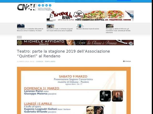 """Teatro: parte la stagione 2019 dell'Associazione """"Quintieri"""" al Rendano"""