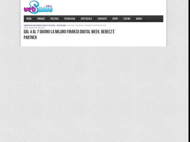 Dal 4 al 7 giugno la Milano Finanza Digital Week. BeBeez è partner