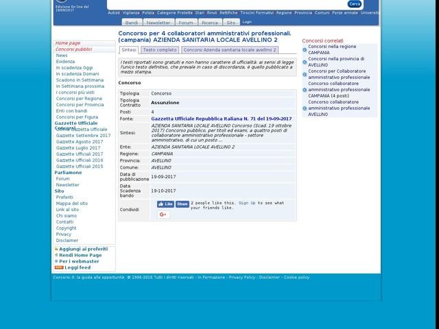 Collaboratore amministrativo professionale - AVELLINO - 4 posti