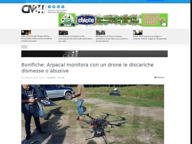 Bonifiche: Arpacal monitora con un drone le discariche dismesse o abusive