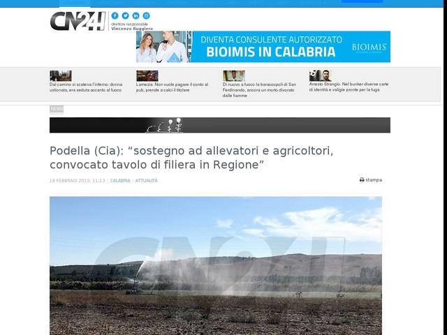 """Podella (Cia): """"sostegno ad allevatori e agricoltori, convocato tavolo di filiera in Regione"""""""