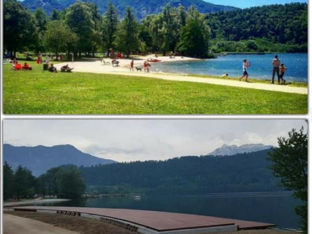 """""""Valorizzazione"""" del lago di Levico finita la piastra di cemento che fa gridare allo scandalo"""