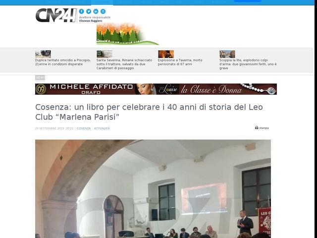"""Cosenza: un libro per celebrare i 40 anni di storia del Leo Club """"Marlena Parisi"""""""
