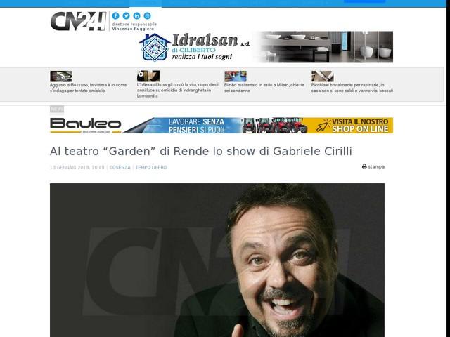 """Al teatro """"Garden"""" di Rende lo show di Gabriele Cirilli"""