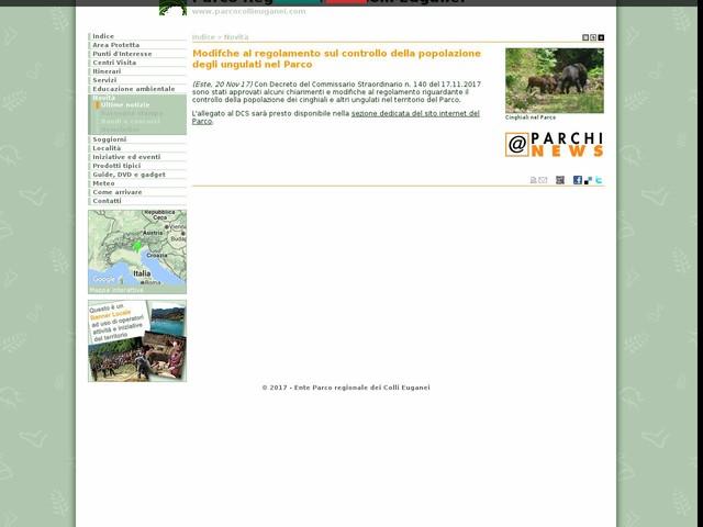 PR Colli Euganei - Modifche al regolamento sul controllo della popolazione degli ungulati nel Parco