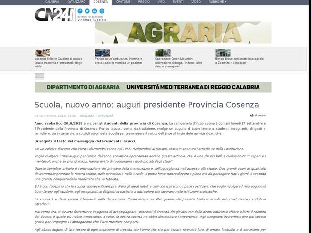 Scuola, nuovo anno: auguri presidente Provincia Cosenza
