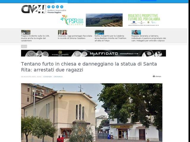 Tentano furto in chiesa e danneggiano la statua di Santa Rita: arrestati due ragazzi