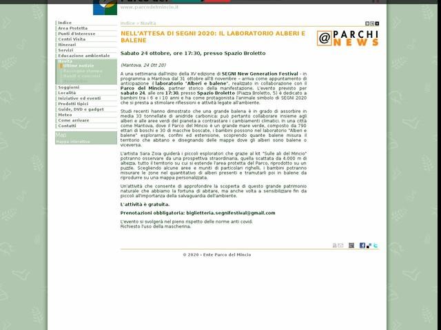 PR Mincio - NELL'ATTESA DI SEGNI 2020: IL LABORATORIO ALBERI E BALENE