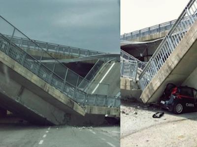 Tragedia sfiorata a Fossano, crolla un cavalcavia | Un'auto dei carabinieri va totalmente distrutta