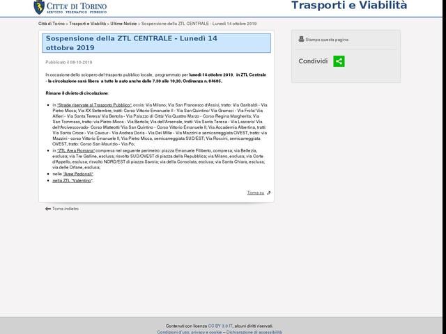 Lunedì 14 sospensione ZTL Centrale